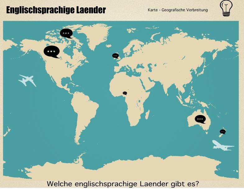 Englischsprachige Länder auf einer Landkarte